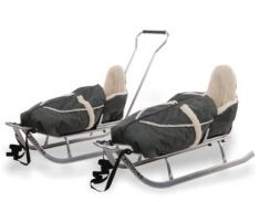 Детские санки Picollino grey (рама серая, чехол синий) (санки со спинкой и толкателем+челох на ножки)